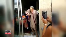 A woman is 100 years old and is celebrating the dancing. The video of her dancing goes around the world!