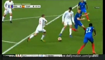 David Silva Goal France 0 - 1 Spain Friendly 28-3-2017