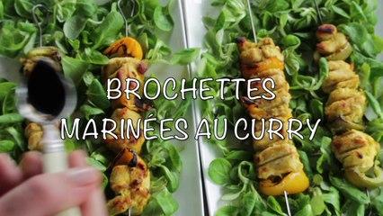 Recette de Brochettes de Poulet marinées au Curry