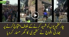 Protest against killing of 4 Muslim youth by Indian troops at a house destroyed by Indian forces