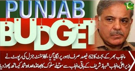 62% Funds of Punjab given to Lahore Only. Report of Accountant General Punjab