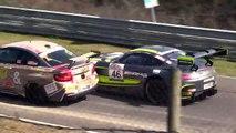 Nürburgring: Crash impliquant une BMW M6 GT3, une Mercedes AMG GT3, et une BMW M235i.