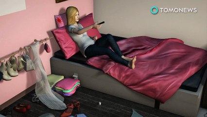 Jovem machucada por carregador mostra por que você deve sempre arrumar o quarto.