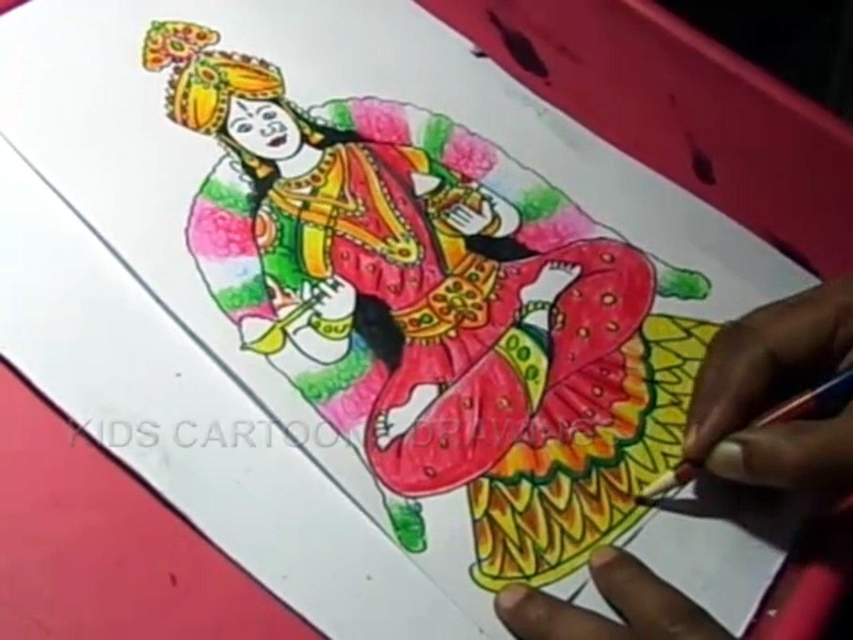 How To Draw Goddess Mata Annapurneshwari Devi Drawing