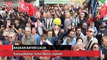 Başkan bateri çaldı, Karşıyakalılar 'İzmir Marşı' söyledi