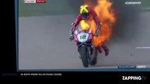 La moto d'un pilote de Superbike prend feu en pleine course (vidéo)