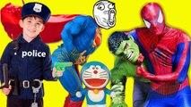 Spiderman & Baby Police Catch Theft Superman Hulk ✦  Superman & Hulk rob Doraemon Toy of Anna Fun