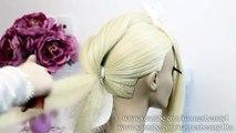 Elegant Bun Hairstyle for long hair. Wedding prom updo.