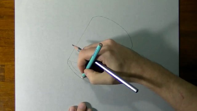 Drawing of a simple glass - How to draw 3D Art-1UsU