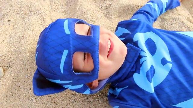 PJ MASKS Superheroes IRL GEKKO SCARED ROMEO PRANK Episode Funny Superhero Lightning Trick