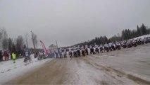 Extreme Ski Racing Behind Motorcycles