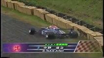 Formula Nippon Fuji Rd 10 1996 Nakano off Takagi spins again (Funny japanese commentary)