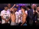 Lee Haskins vs. Stuart Hall COMPLETE Weigh In & Face Off video