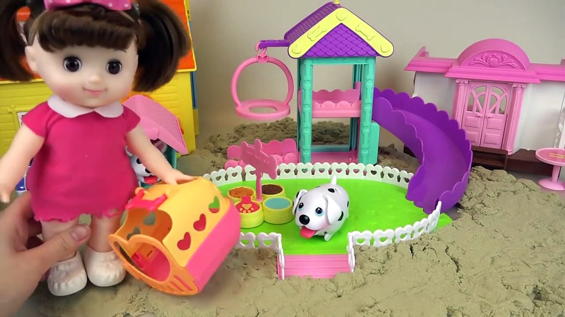 Baby doll and Pet dog Sand play ground toys