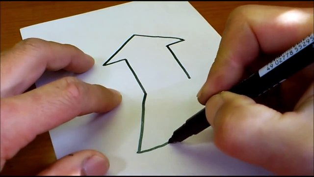Very Easy!! How To Draw 3D Arrow for Kids - Anamorphic Illusion - 3D Trick Art Drawing on paper-9zBlrjmbLPQ