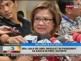 BT: Sen. Leila de Lima, nagulat sa pagkamay sa kanya ni Pres. Duterte