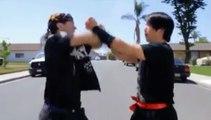 Nunchaku combat. Đánh nhau bằng côn nhị khúc kinh điển. Nunchaku fight