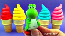 Learn Colors for Kids with Play Doh Ice Cream Cone Surprise Toys Super Mario Bros Inside Out Ths