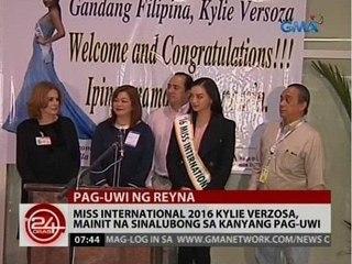 Miss International 2016 Kylie Verzosa, mainit na sinalubong sa kanyang pag-uwi