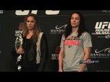 UFC 170 Rousey vs. McMann final press conference face offs & Cormier shoves Cummins