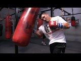 Manny Pacquiao vs. Brandon Rios-Rios heavy bag workout and shadow boxing