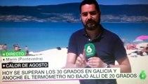 Chicas trolean a reportero en directo en la playa