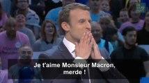 """""""Je t'aime M. Macron, merde!"""", Emmanuel Macron interrompu en plein meeting à Bercy"""
