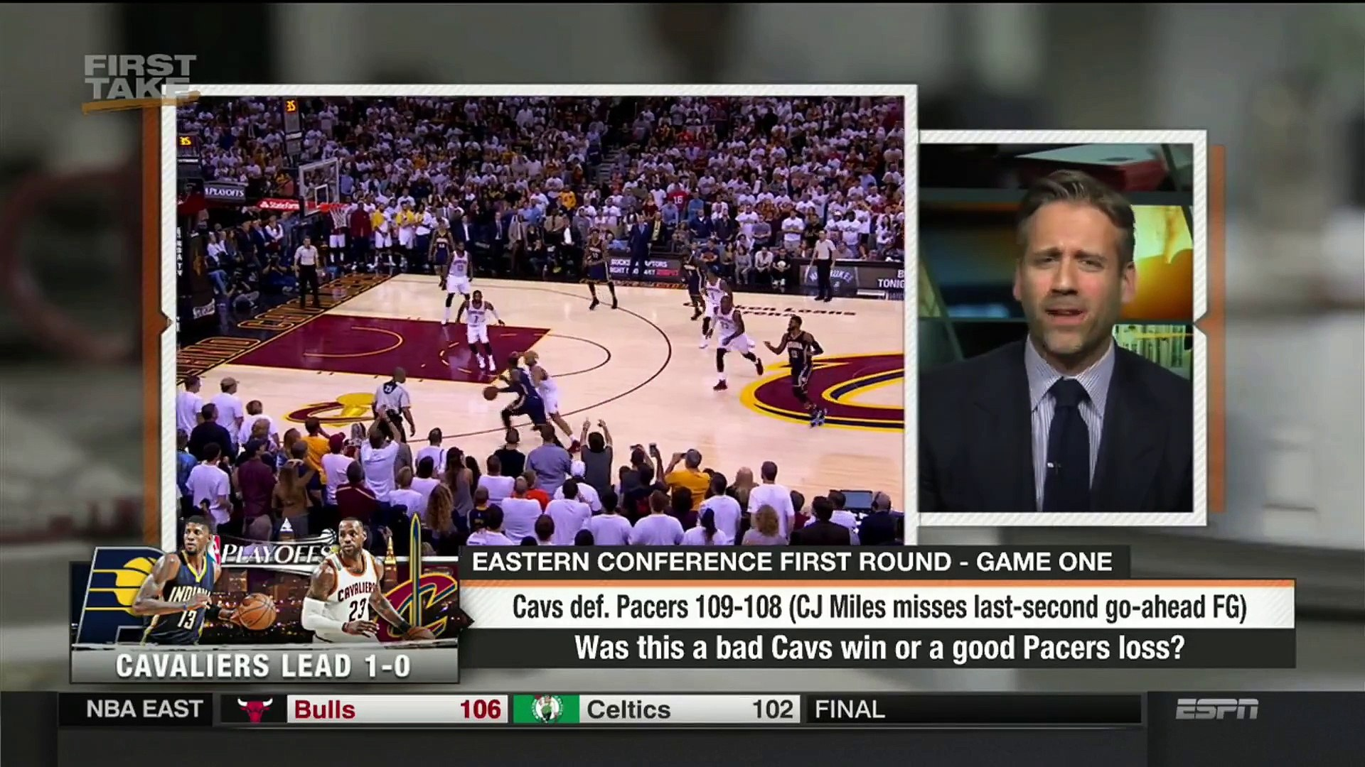 First Take   Cavs def. Pacers 109-108 - A bad Cavs win or a good Pacers loss   Apr 17, 2017