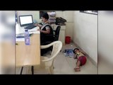 Pune mom works in bank with sick son lying on floor, Facebook post goes viral Oneindia News