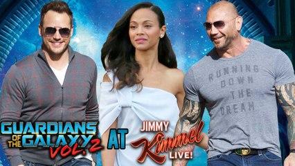 Chris Pratt, Zoe Saldana Promote Guardians of the Galaxy Vol. 2 At Jimmy Kimmel Live! | Dave Bautista