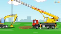 Giant Red Truck with Excavator Cars & Trucks Kids Animation - World of Cars for children