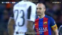Andres Iniesta jumps into a tackle and referee blows his whistle for a foul - Barcelona 0-0 Juventus - 19.04.2017