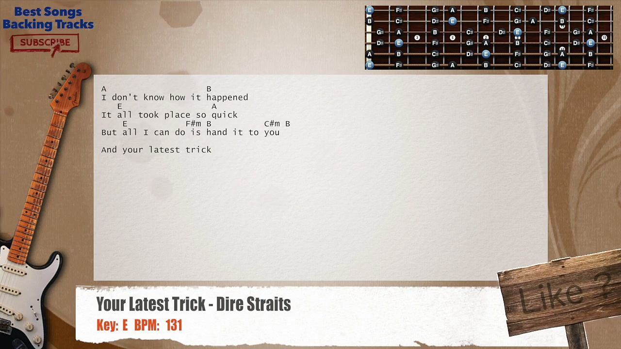 Your Latest Trick – Dire Straits Guitar Backing Track with chords and lyrics