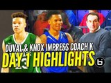 Trevon Duval & Kevin Knox Impress Coach K in City of Palms Day 1 Debuts! Full Highlights!