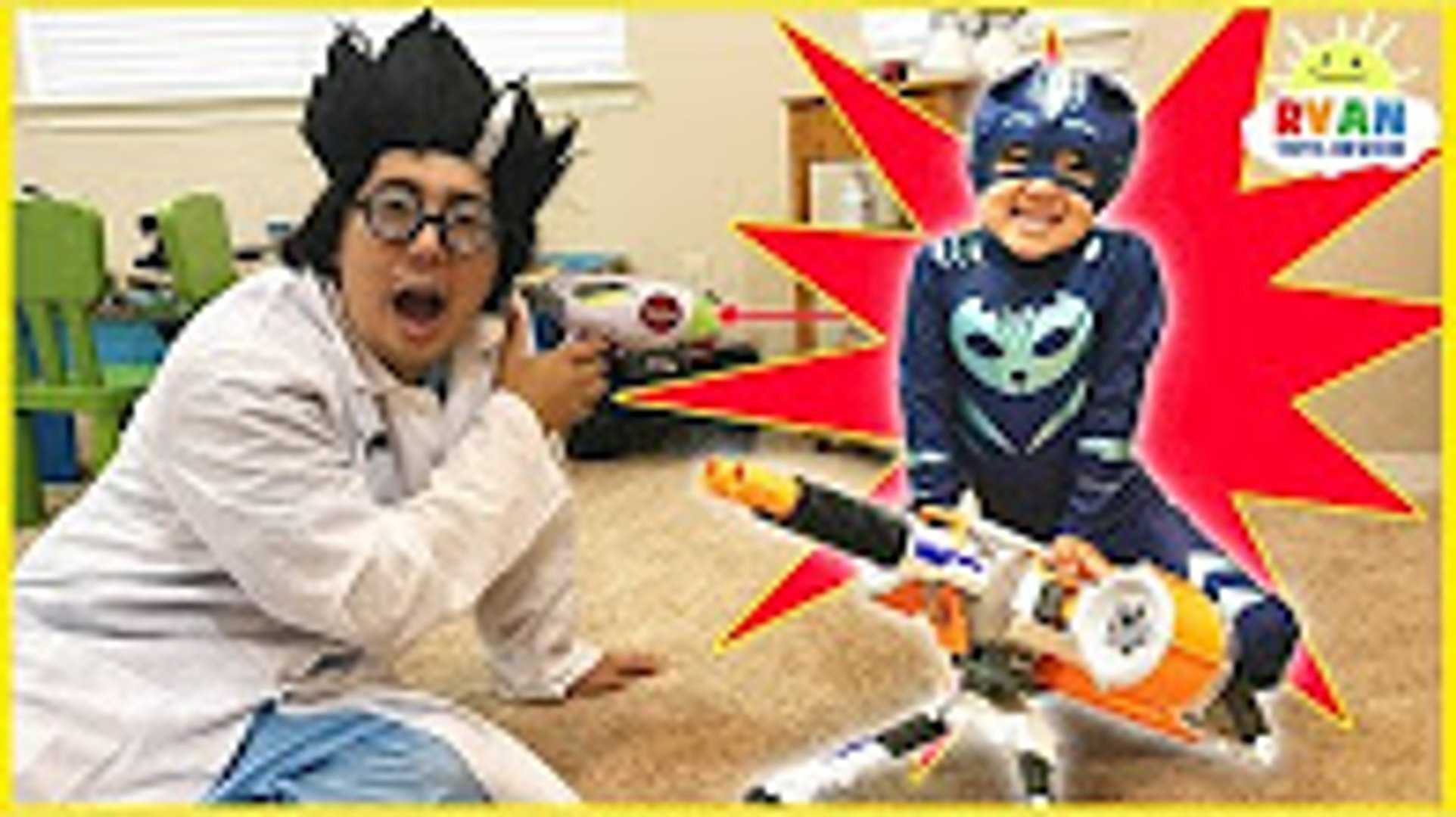 PJ MASKS IRL SUPERHEROES Catboy and Spiderman Surprise Eggs stolen by Romeo and