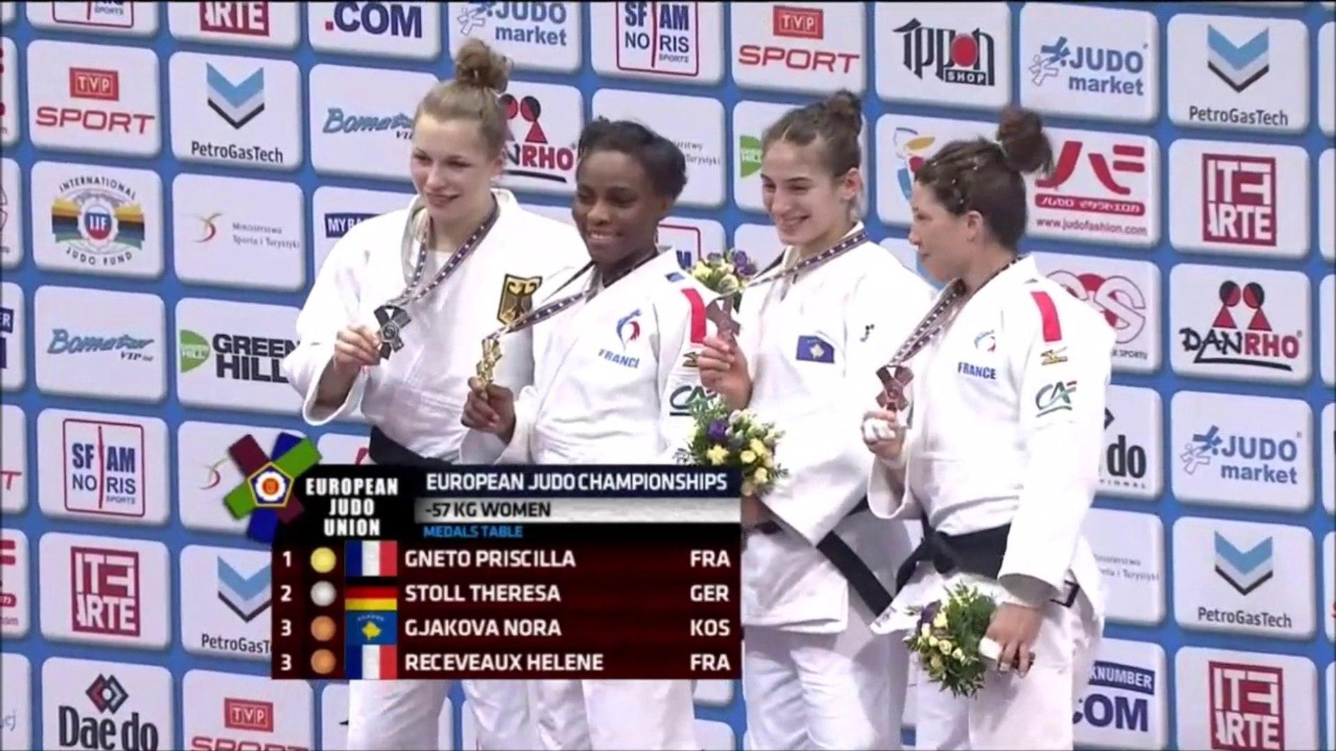 ChE judo Varsovie 2017, -57kg, Priscilla Gneto championne d'Europe, Hélène  Receveaux en bronze