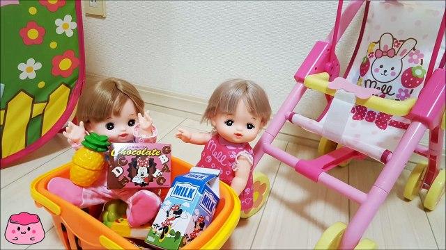 メルちゃん ベビーショッピングカートでお買い物  Mell-chan Doll Grocery Shopping  Shopping Cart Toy