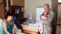 Ce soldat arrive à l'hôpital le lendemain de la naissance de sa fille, mais regardez la réaction de son fils!