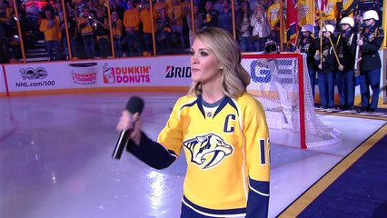 Carrie Underwood belts out the anthem in Nashville!