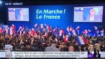 La liesse dans les camps d'Emmanuel Macron et de Marine Le Pen placés en tête du 1er tour