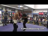 robert garcia working mitts with boxing star mikey garcia