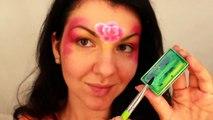 Facile arc en ciel coeur Princesse un accident vasculaire cérébral se leva visage peinture tutoriel pour débutants