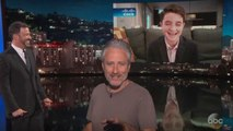 Jon Stewart Teases Young Fan Who Threw Jimmy Kimmel-Themed Bar Mitzvah | THR News