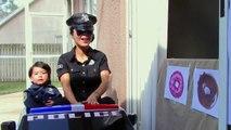 Police Drive Thru Dunkin Donuts w_ Catwoman, Princess Rapunzel, Snow White, Spiderman-Q_M