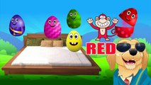 Learn Colors New! Five Little Monkeys born From Five Little Surprise Eggs - Nursery Rhymes Songs