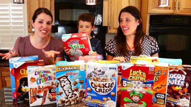 Cookie CHALLENGE Game Huge Surprise Prizes Spongebob Party Ideas + DisneyCarToys Cereal Challenge