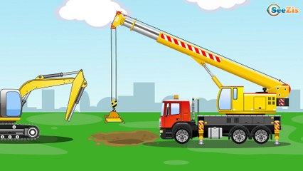 Color Tractor & JCB Excavator Trucks For Children - Video for Kids | Construction Animation Cartoon