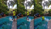 Fail lors de la traversée d'une piscine avec une planche