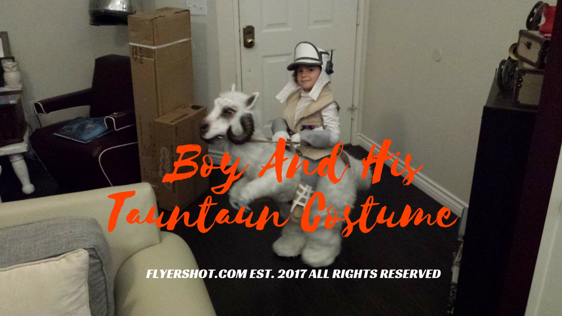 FLYERSHOT.COM -  Boy And His Tauntaun Costume. 2017