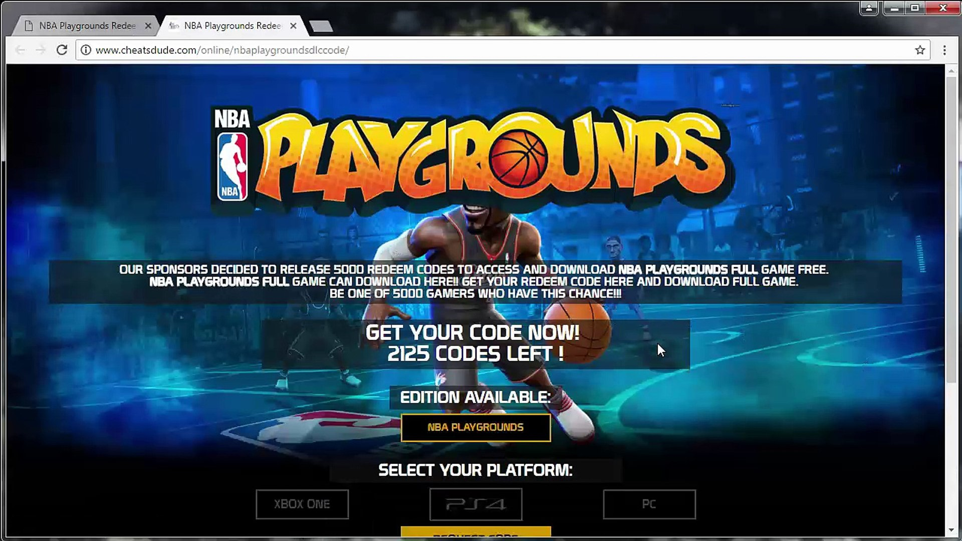 NBA Playgrounds Redeem Code Generator - Xbox One, PS4 and PC